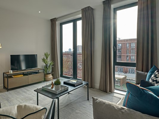 Harles Hope Media City Apartments 1 Bedroom Apartment Lounge Area.C
